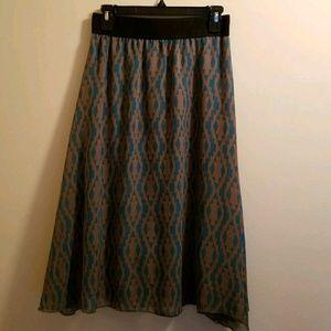 NWOT LuLaRoe Small Lola Midi Skirt Gray/Teal Blue